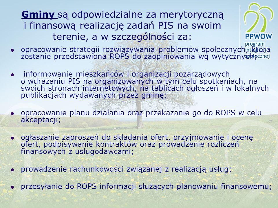 Gminy są odpowiedzialne za merytoryczną i finansową realizację zadań PIS na swoim terenie, a w szczególności za: