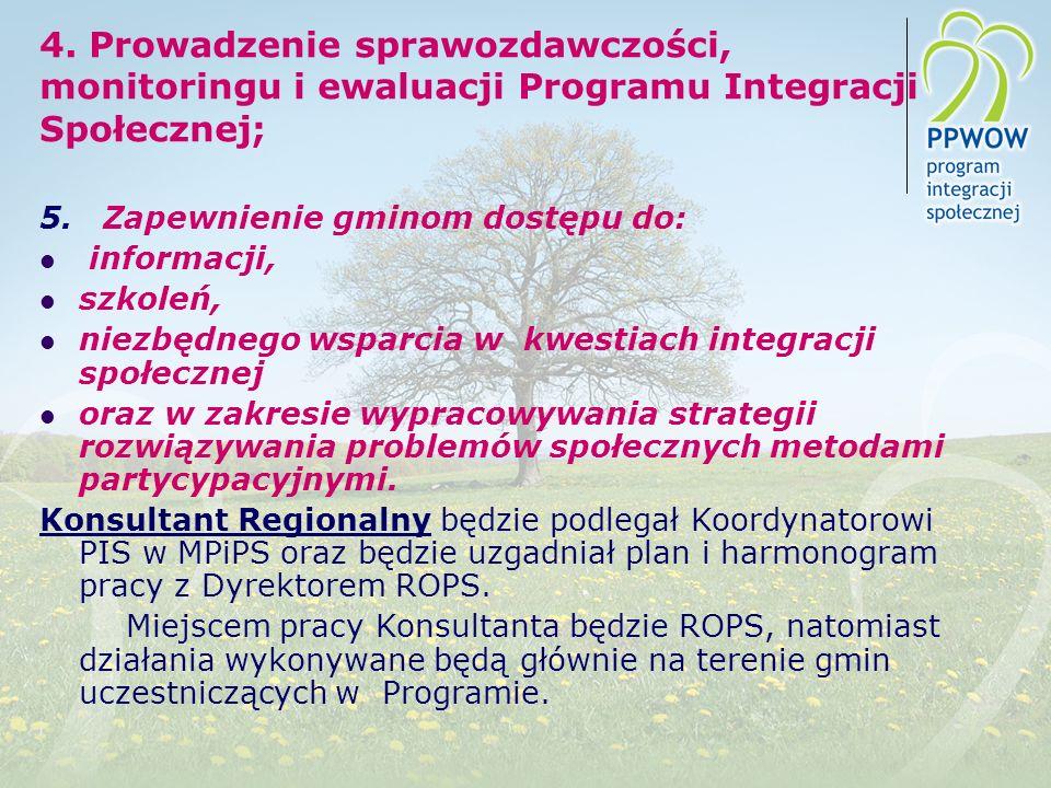 4. Prowadzenie sprawozdawczości, monitoringu i ewaluacji Programu Integracji Społecznej;