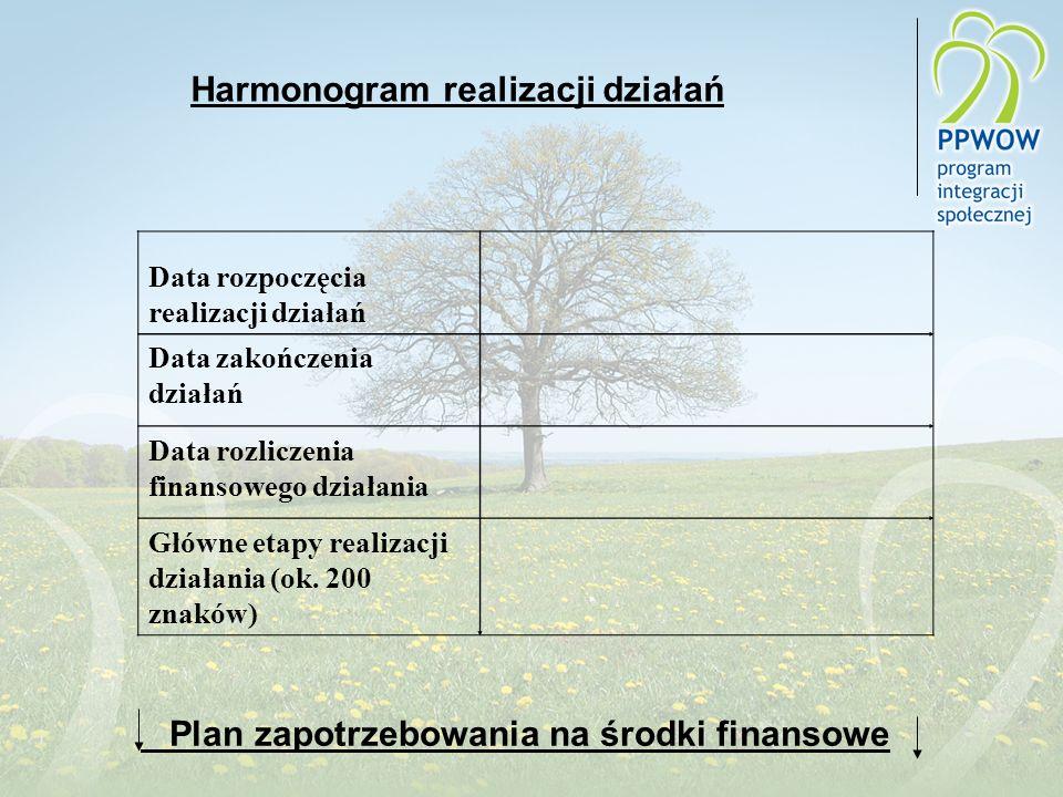 Harmonogram realizacji działań