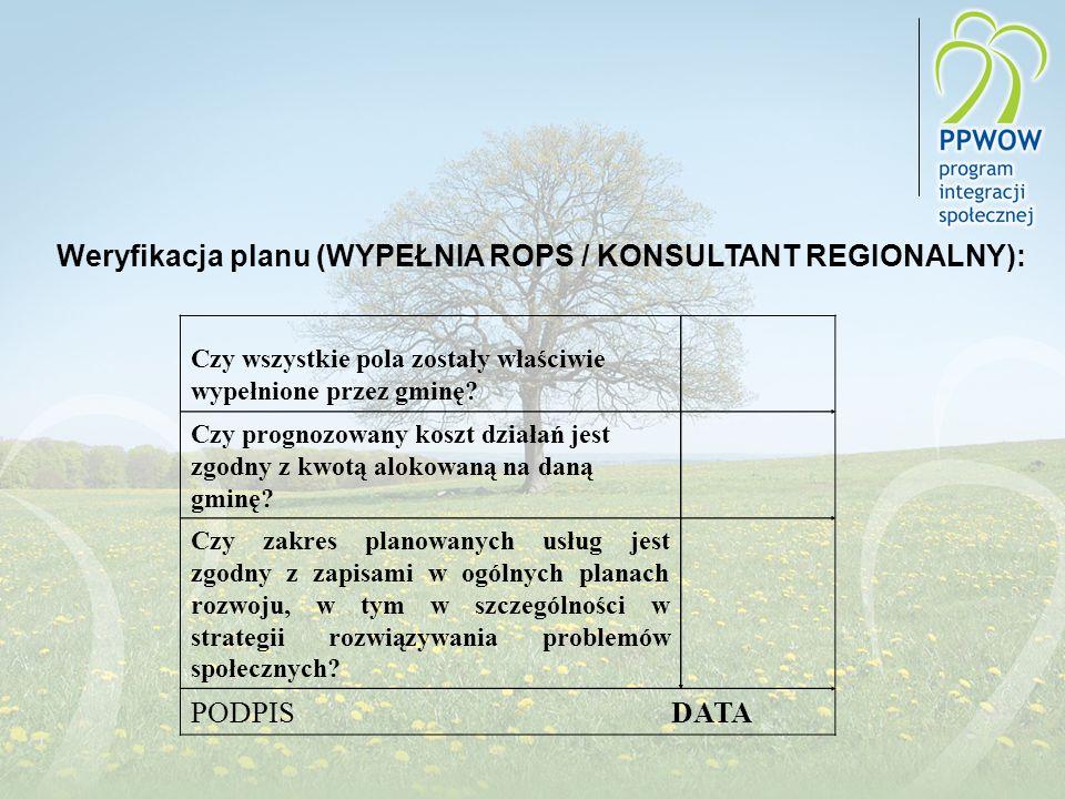 Weryfikacja planu (WYPEŁNIA ROPS / KONSULTANT REGIONALNY):