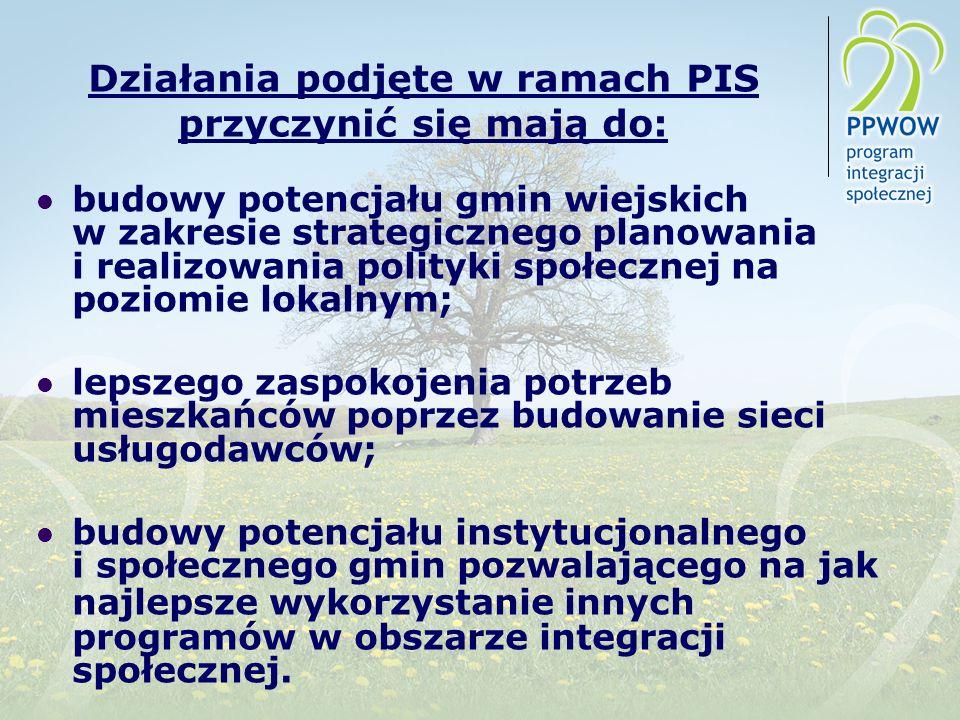 Działania podjęte w ramach PIS przyczynić się mają do: