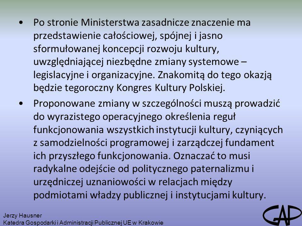 Po stronie Ministerstwa zasadnicze znaczenie ma przedstawienie całościowej, spójnej i jasno sformułowanej koncepcji rozwoju kultury, uwzględniającej niezbędne zmiany systemowe – legislacyjne i organizacyjne. Znakomitą do tego okazją będzie tegoroczny Kongres Kultury Polskiej.
