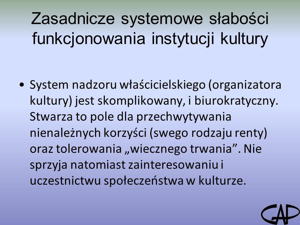 Zasadnicze systemowe słabości funkcjonowania instytucji kultury