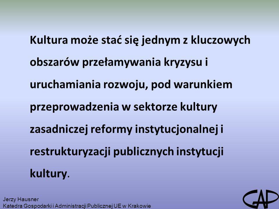 Kultura może stać się jednym z kluczowych obszarów przełamywania kryzysu i uruchamiania rozwoju, pod warunkiem przeprowadzenia w sektorze kultury zasadniczej reformy instytucjonalnej i restrukturyzacji publicznych instytucji kultury.