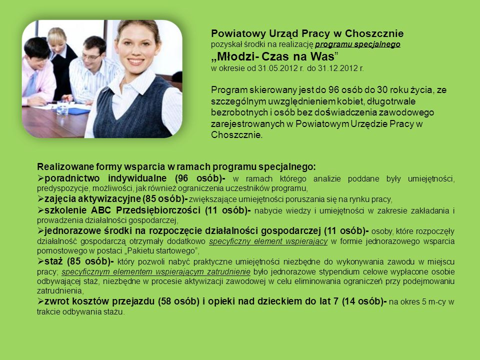 """""""Młodzi- Czas na Was Powiatowy Urząd Pracy w Choszcznie"""