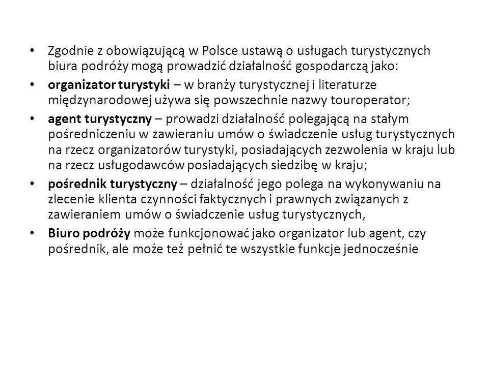 Zgodnie z obowiązującą w Polsce ustawą o usługach turystycznych biura podróży mogą prowadzić działalność gospodarczą jako: