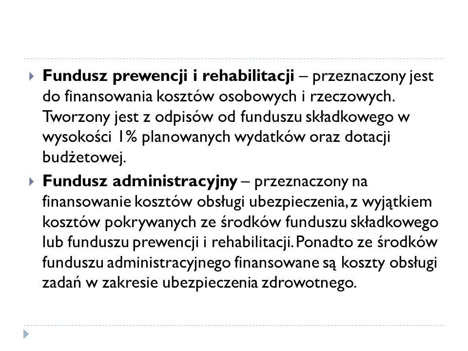 Fundusz prewencji i rehabilitacji – przeznaczony jest do finansowania kosztów osobowych i rzeczowych. Tworzony jest z odpisów od funduszu składkowego w wysokości 1% planowanych wydatków oraz dotacji budżetowej.