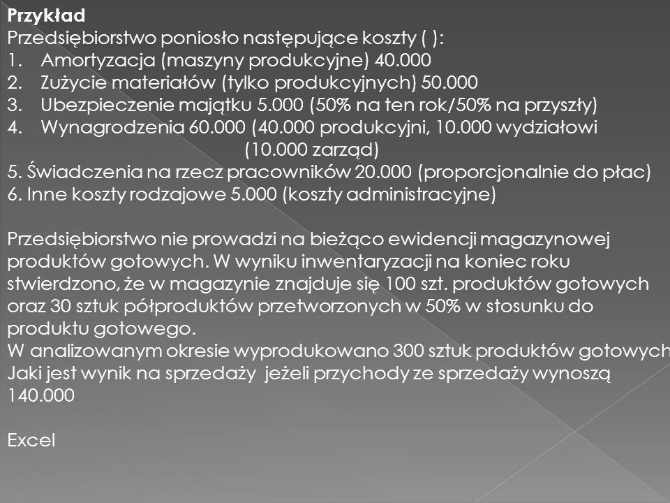 Przykład Przedsiębiorstwo poniosło następujące koszty ( ): Amortyzacja (maszyny produkcyjne) 40.000.