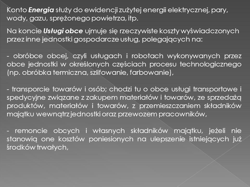 Konto Energia służy do ewidencji zużytej energii elektrycznej, pary,