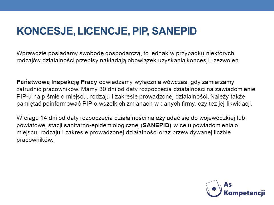 Koncesje, licencje, PIP, SANEPID