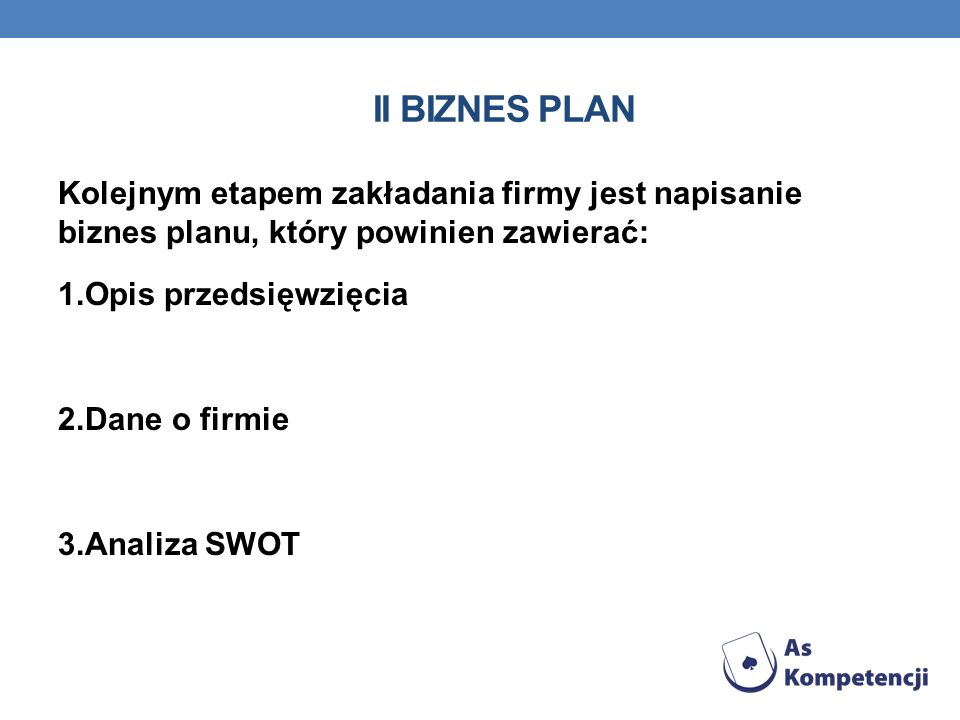 II biznes plan