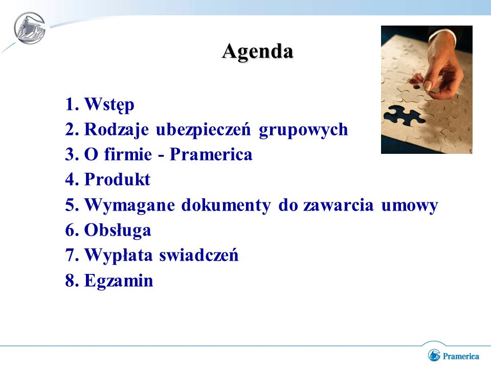 Agenda 1. Wstęp 2. Rodzaje ubezpieczeń grupowych