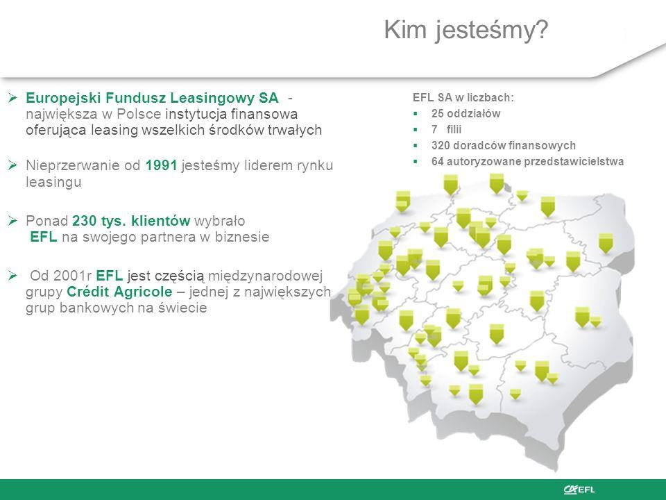 Kim jesteśmy Europejski Fundusz Leasingowy SA - największa w Polsce instytucja finansowa oferująca leasing wszelkich środków trwałych.