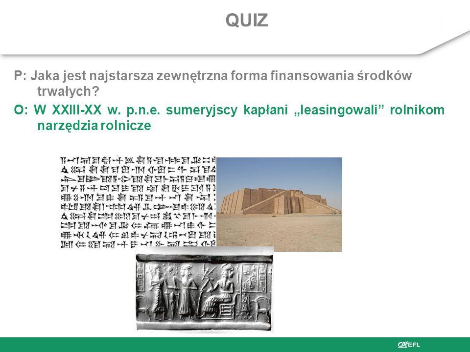 QUIZ P: Jaka jest najstarsza zewnętrzna forma finansowania środków trwałych
