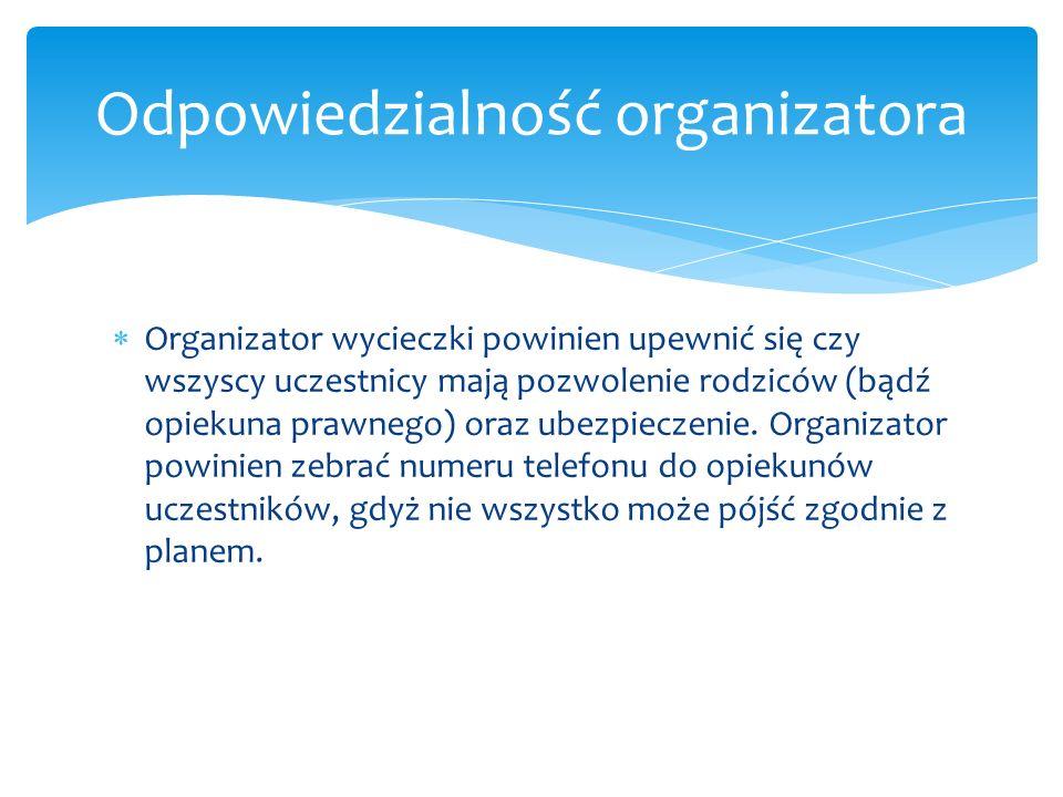 Odpowiedzialność organizatora