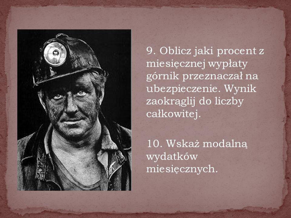 9. Oblicz jaki procent z miesięcznej wypłaty górnik przeznaczał na ubezpieczenie.