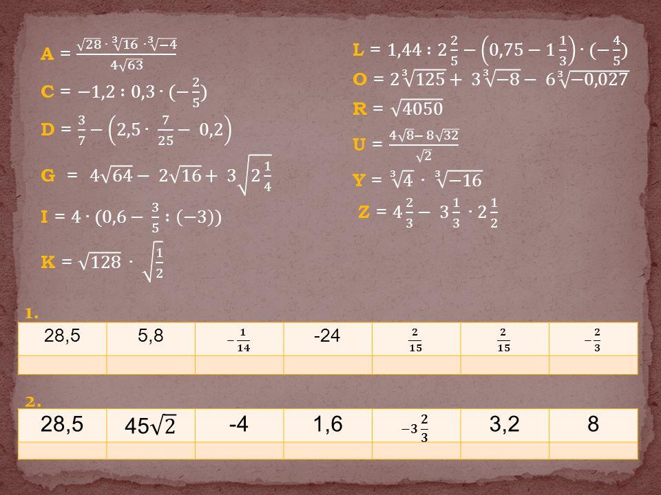 A = 28 ∙ 3 16 ∙ 3 −4 4 63 C = −1,2 :0,3∙(− 2 5 ) D = 3 7 − 2,5∙ 7 25 − 0,2 G = 4 64 − 2 16 + 3 2 1 4 I = 4∙(0,6− 3 5 : −3 ) K = 128 ∙ 1 2