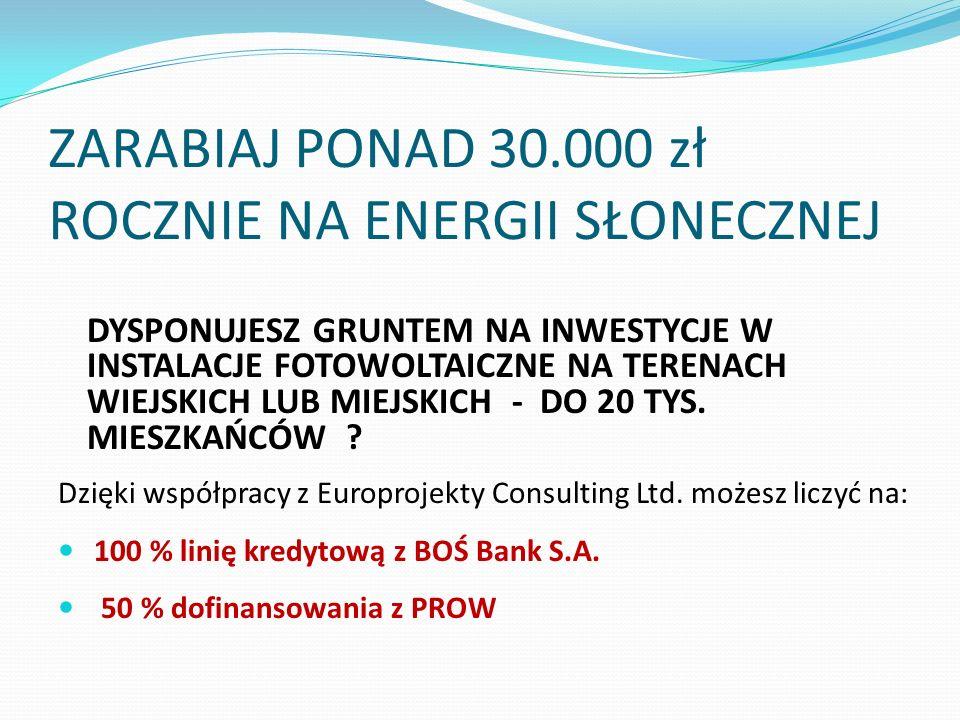 ZARABIAJ PONAD 30.000 zł ROCZNIE NA ENERGII SŁONECZNEJ