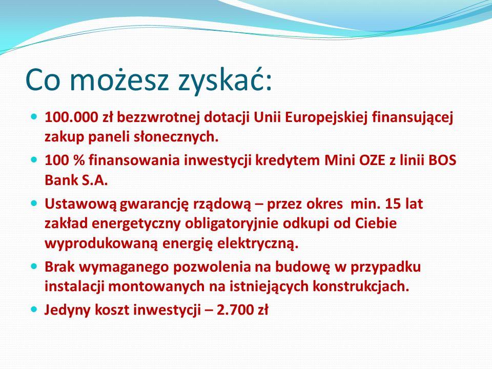 Co możesz zyskać: 100.000 zł bezzwrotnej dotacji Unii Europejskiej finansującej zakup paneli słonecznych.