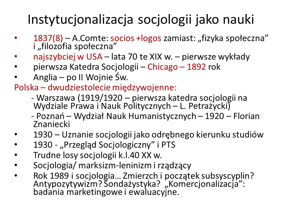 Instytucjonalizacja socjologii jako nauki
