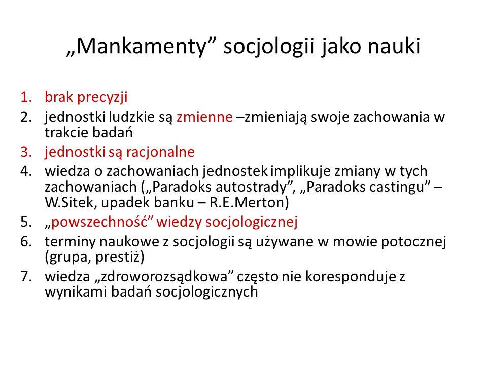 """Mankamenty socjologii jako nauki"