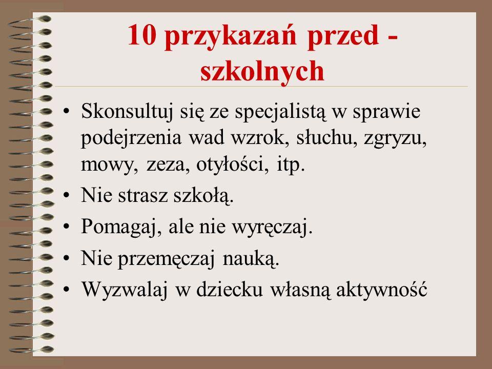 10 przykazań przed - szkolnych