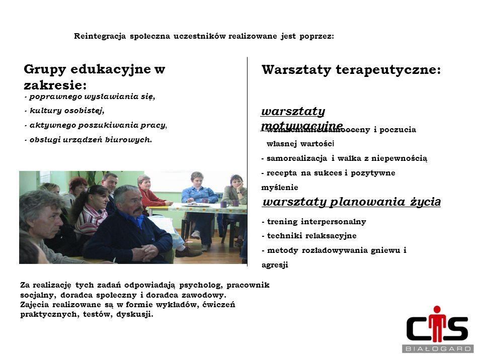 Grupy edukacyjne w zakresie: Warsztaty terapeutyczne:
