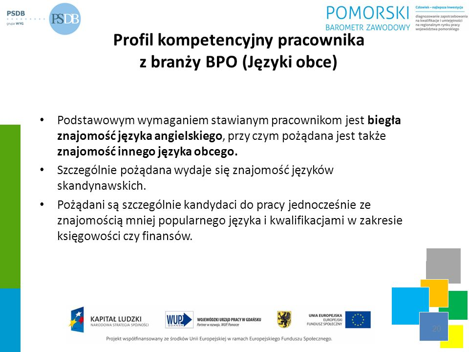Profil kompetencyjny pracownika z branży BPO (Języki obce)