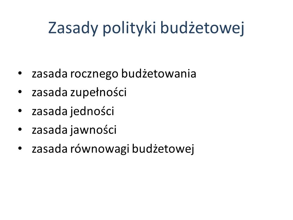 Zasady polityki budżetowej
