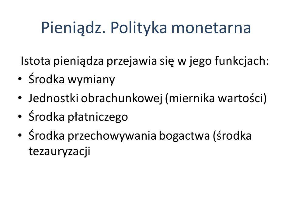 Pieniądz. Polityka monetarna