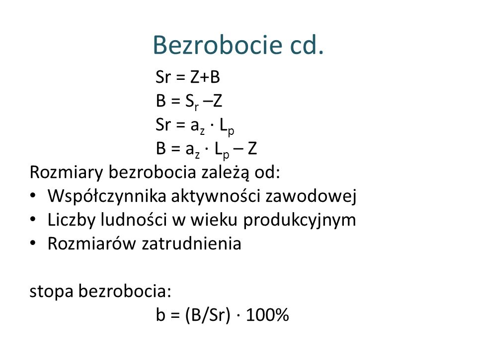 Bezrobocie cd. Sr = Z+B B = Sr –Z Sr = az ∙ Lp B = az ∙ Lp – Z