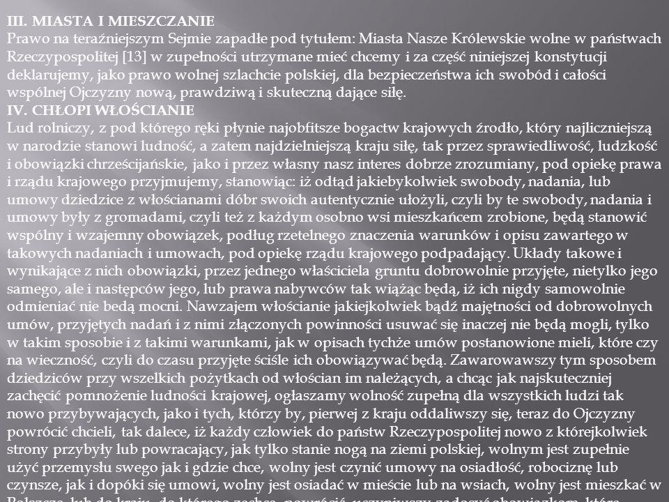 III. MIASTA I MIESZCZANIE