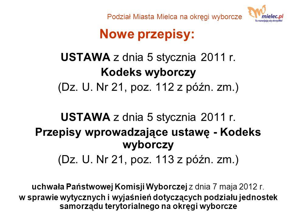 Nowe przepisy: USTAWA z dnia 5 stycznia 2011 r. Kodeks wyborczy