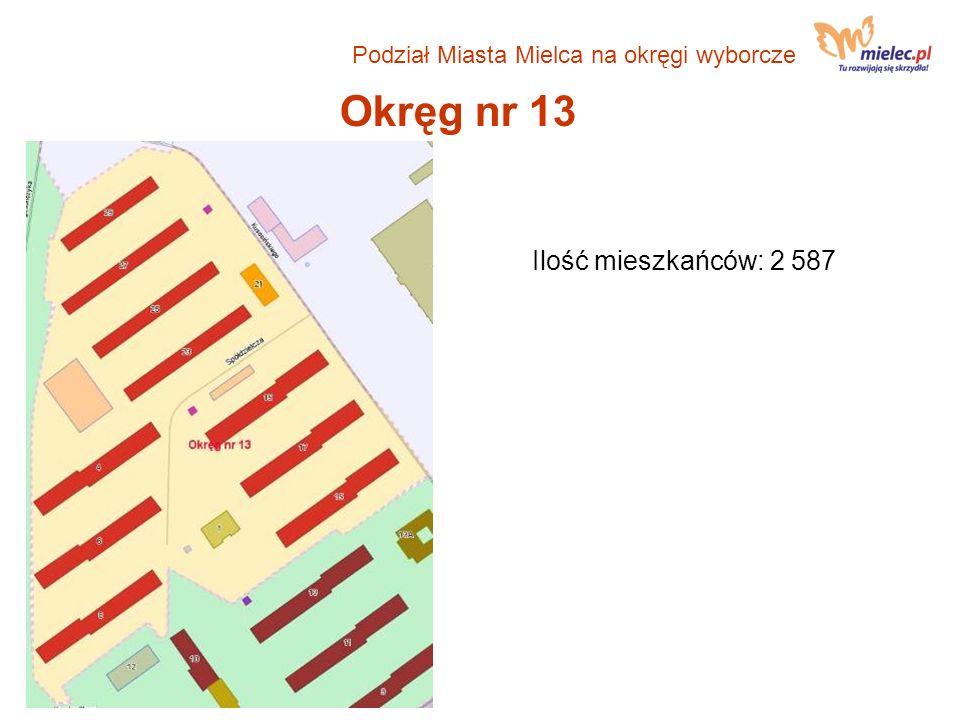 Okręg nr 13 Ilość mieszkańców: 2 587