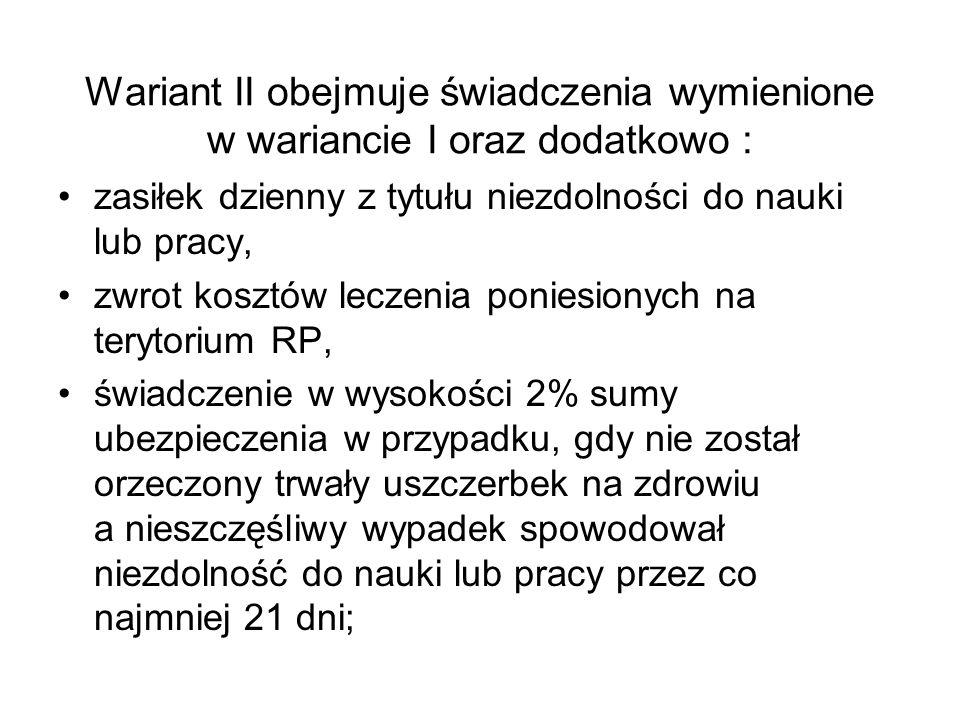 Wariant II obejmuje świadczenia wymienione w wariancie I oraz dodatkowo :