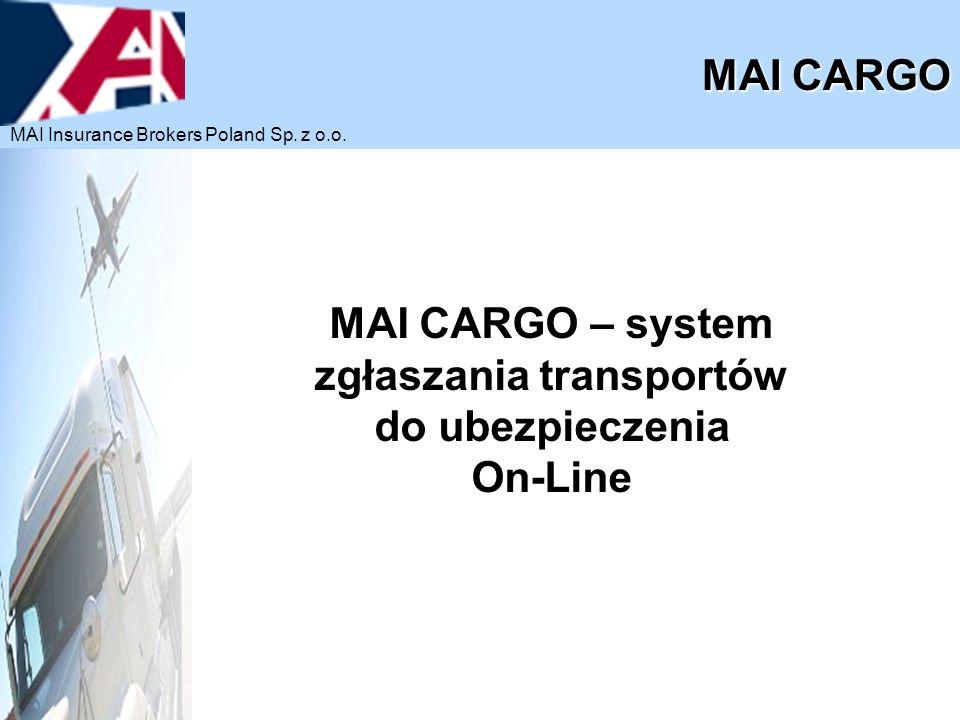 MAI CARGO – system zgłaszania transportów do ubezpieczenia On-Line