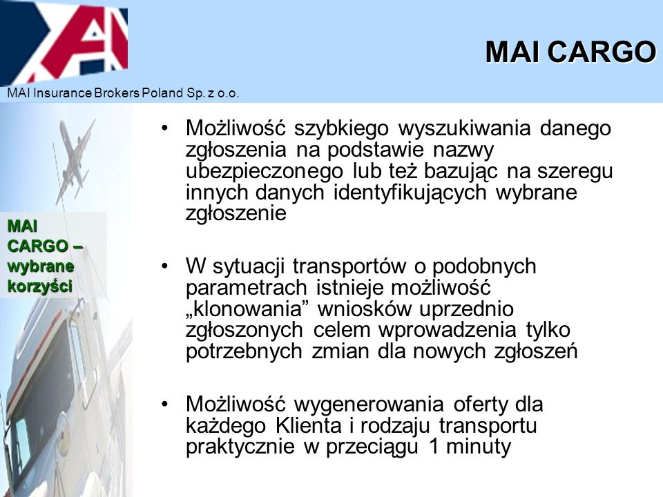 MAI CARGO MAI Insurance Brokers Poland Sp. z o.o.