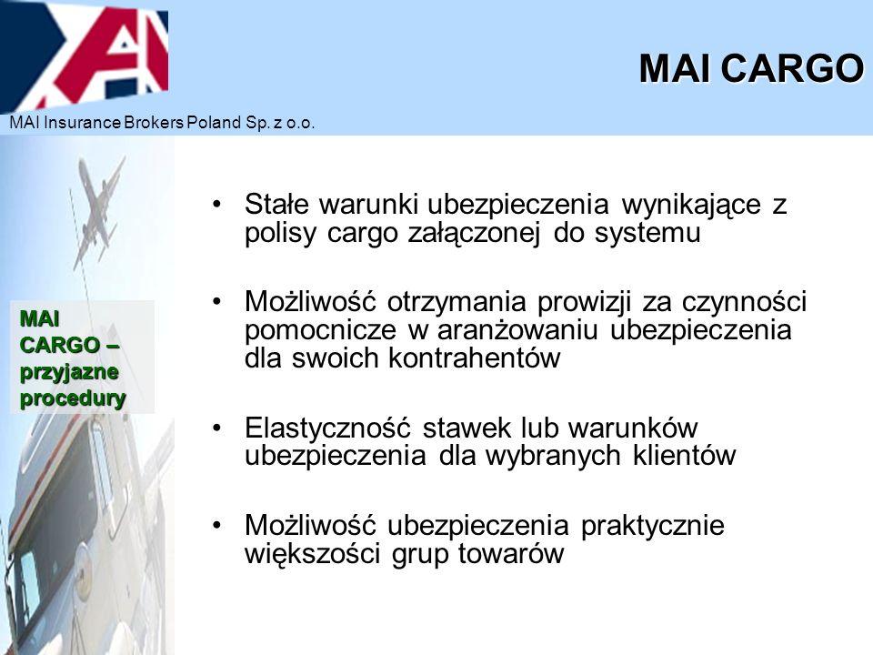 MAI CARGO MAI Insurance Brokers Poland Sp. z o.o. Stałe warunki ubezpieczenia wynikające z polisy cargo załączonej do systemu.