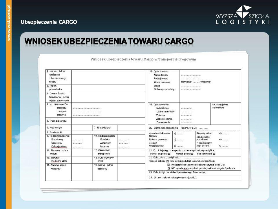 Wniosek ubezpieczenia towaru cargo