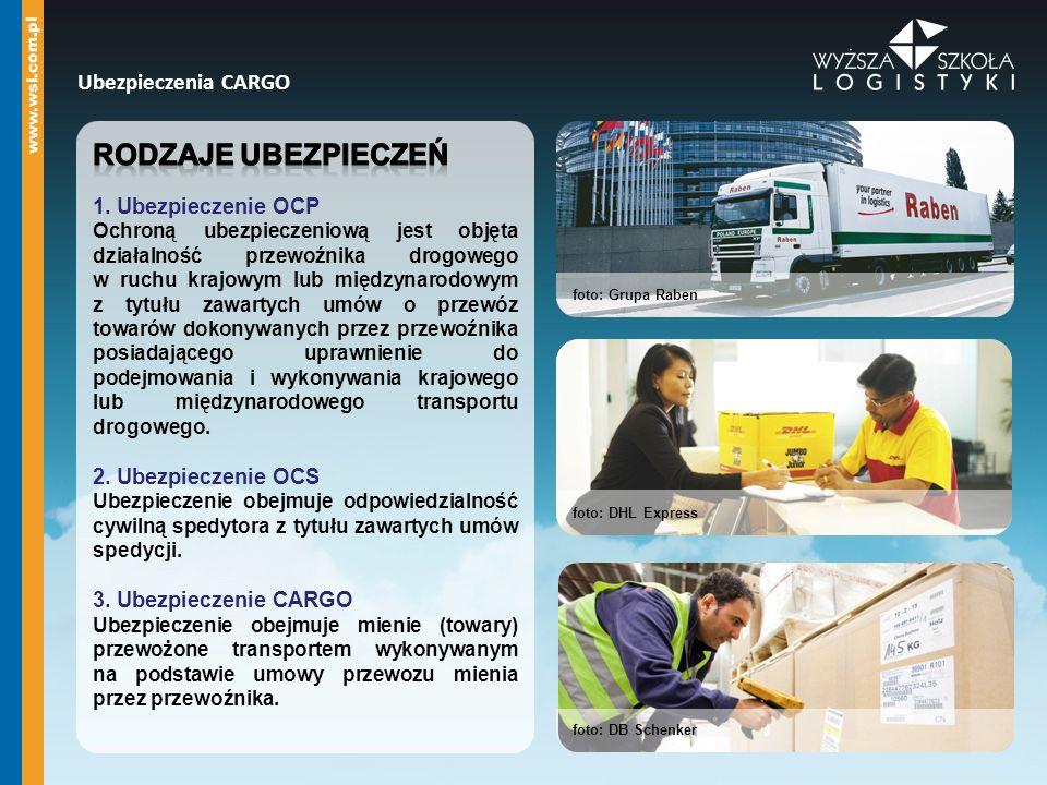 Rodzaje ubezpieczeń Ubezpieczenia CARGO 1. Ubezpieczenie OCP