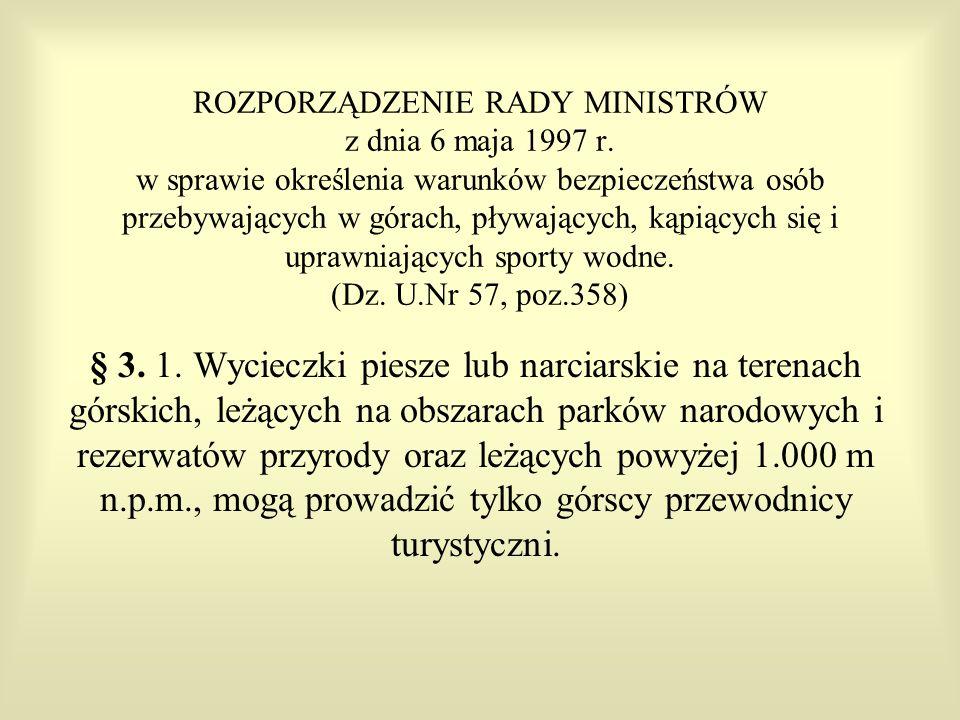 ROZPORZĄDZENIE RADY MINISTRÓW z dnia 6 maja 1997 r