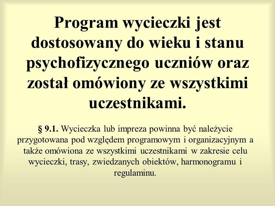 Program wycieczki jest dostosowany do wieku i stanu psychofizycznego uczniów oraz został omówiony ze wszystkimi uczestnikami.