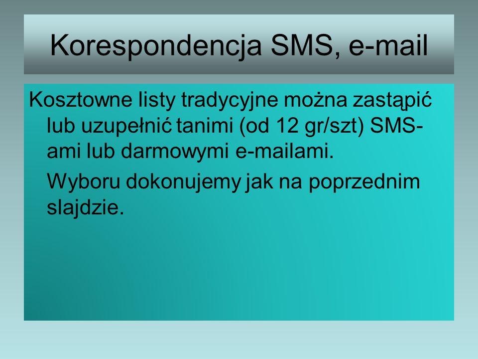 Korespondencja SMS, e-mail