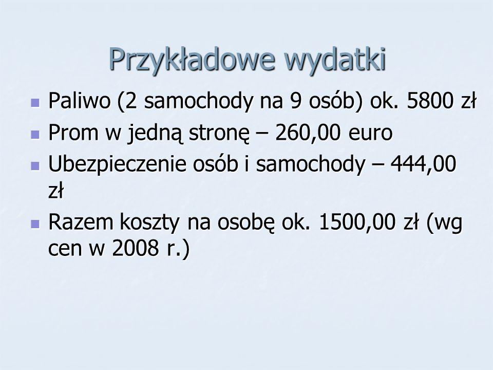 Przykładowe wydatki Paliwo (2 samochody na 9 osób) ok. 5800 zł