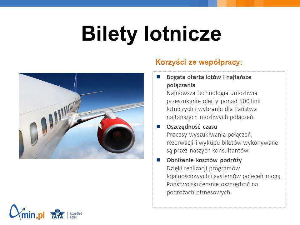 Bilety lotnicze Korzyści ze współpracy: