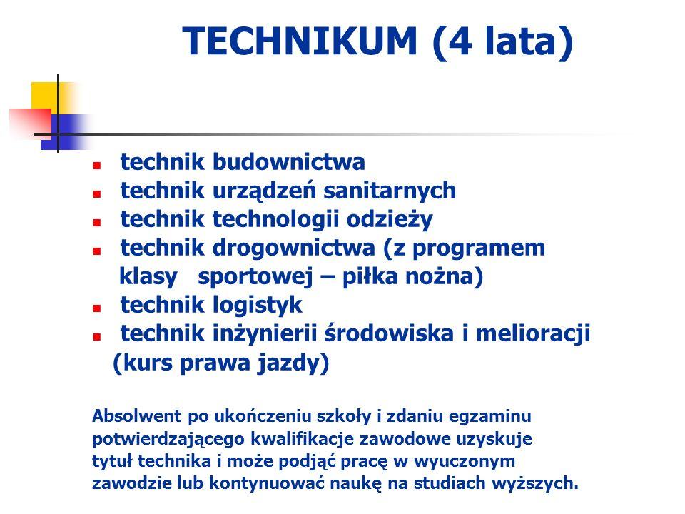 TECHNIKUM (4 lata) technik budownictwa technik urządzeń sanitarnych