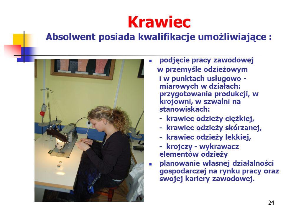 Krawiec Absolwent posiada kwalifikacje umożliwiające :