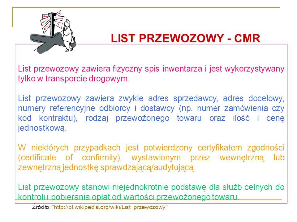 LIST PRZEWOZOWY - CMR List przewozowy zawiera fizyczny spis inwentarza i jest wykorzystywany tylko w transporcie drogowym.