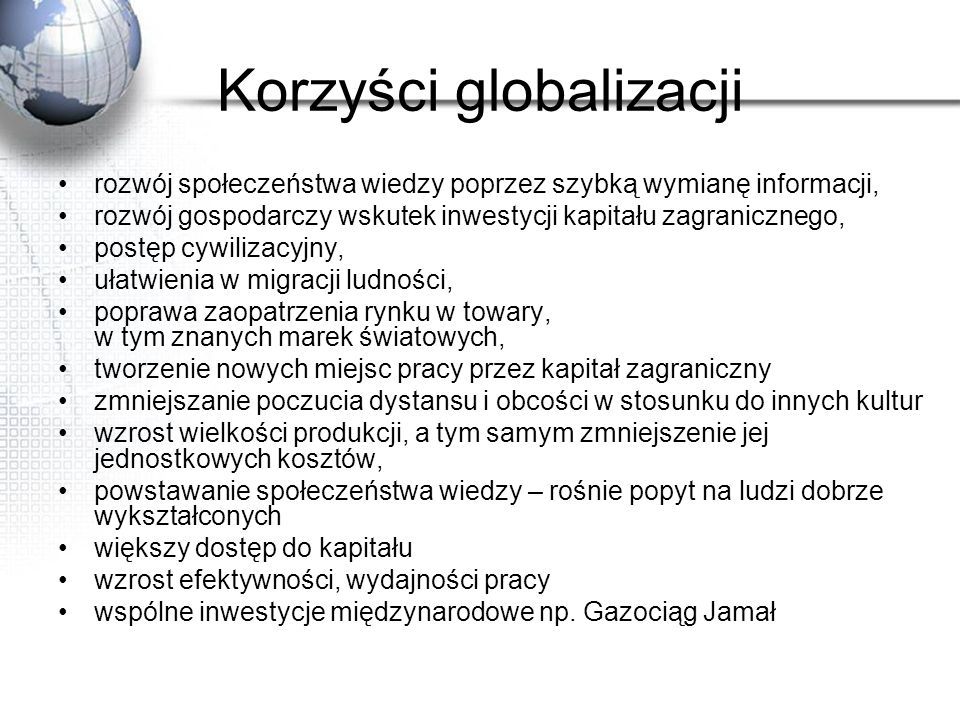 Korzyści globalizacji