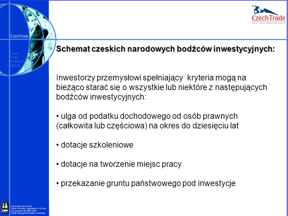 Schemat czeskich narodowych bodźców inwestycyjnych: